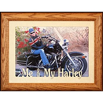 5x7 JUMBO ~ ME & MY HARLEY Landscape Picture Frame ~ Laser Cut Cream Marble Matboard (FRUITWOOD)