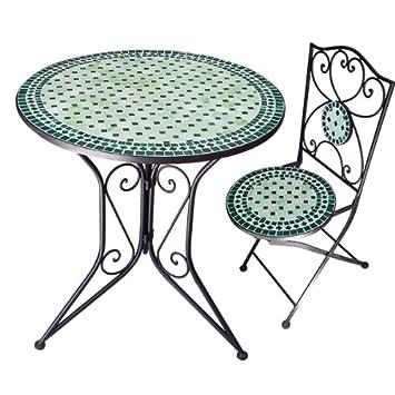 Nmp - ensemble 1+5 vert - Ensemble table + 5 chaises fer forgé et ...