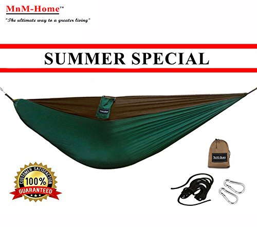 MnM-Home Double Parachute Nylon Hammock with Suspension Straps and Carbines - Green and (Green Mnm)
