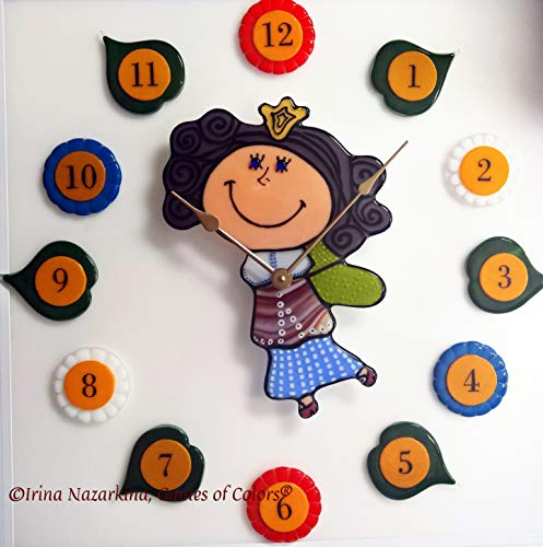 A decorative fused glass wall clock for kids room - Fused Glass Wall Art