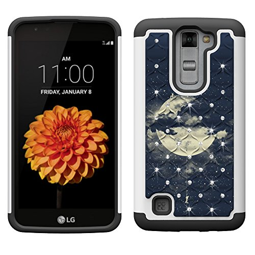 LG Tribute 5 Case, LG K7 Case, MagicSky [Shock Absorption] Studded Rhinestone Bling Hybrid Dual Layer Armor Protective Case Cover For LG Tribute 5 / LG K7 / LG Escape 3/ LG Phoenix 2/ LG K8-Night Sky (Jeweled Lg Tribute Case)