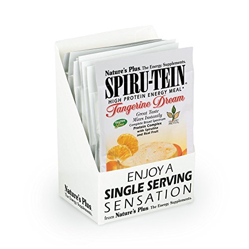 Natures Plus Spirutein Shake (8 Pack) - Tangerine Dream Flavor - 1.2 oz, Spirulina Protein Powder - Plant Based Meal Replacement - Vegetarian, Gluten Free - 8 Total Servings