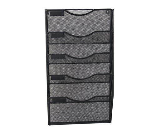 EasyPAG Office 5 Pockets Wall File Holder Organizer Hanging Metal Magazine Rack Black Metal Wall Pocket