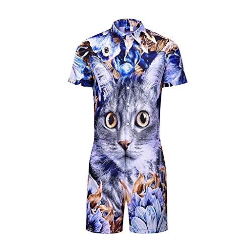 UMFun Men's Summer Casual Fashion Short Sleeve Fitted Suit Printed Cat (M)