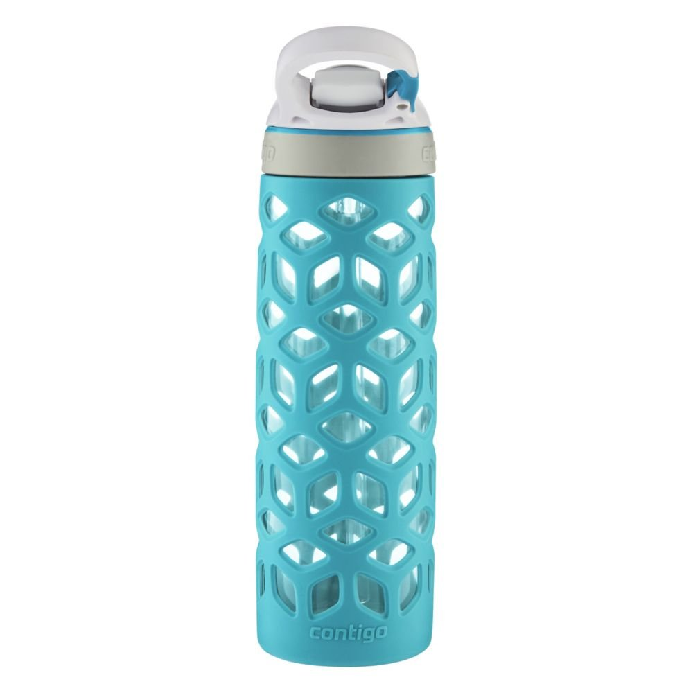 2 Pack Gym BPA Free /& Top Rack Dishwasher Safe Home Contigo AUTOSPOUT Straw Ashland Glass Water Bottle w//Silicone Sleeve 20oz Grapevine Great for Sports Travel Tasteless /& Odorless Drinking