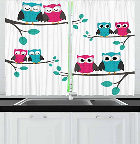 Ambesonne Nursery Kitchen Curtains, Couples of Owls Sitting