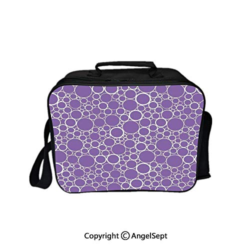 - Multifunctional Lunch Bags for Women Wide Open,Abstract Geometric Linked Circles in Many Sizes Fractal Diameter Rings Print Violet White 8.3inch,Lunch Box With Double Deck Cooler Tote Bag