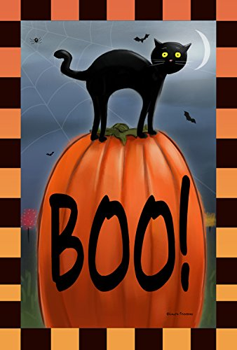 Toland Home Garden Boo Cat 28 x 40 Inch Decorative Black Kitty Halloween Pumpkin House -