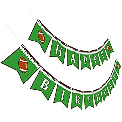 Maplelon Football Birthday Party Banner | Sports Bday Bunting Sign Decorations