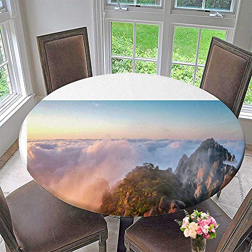Mikihome Round Premium Table Cloth Sunrise and Cloud sea Mount Huangshan Scenery Beauty Perfect for Indoor, Outdoor 50