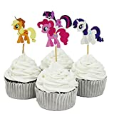BETOP HOUSE Set of 24 Pieces My Little Pony Theme Twilight Sparkle Cake Cupcake Decorative Kit Cupcake Topper for Kids Birthday Party Themed Party Baby Shower