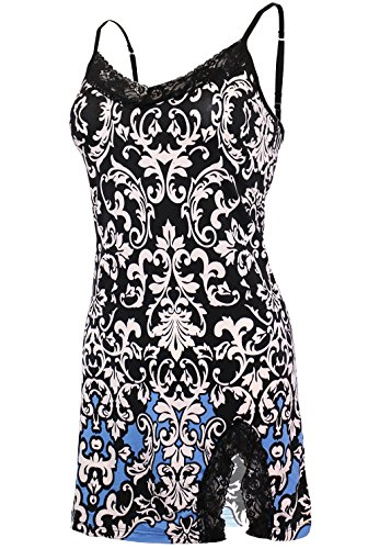 KMystic Women's Lace Trim Chemise Nightgown (Large, Damask Blue and Black)