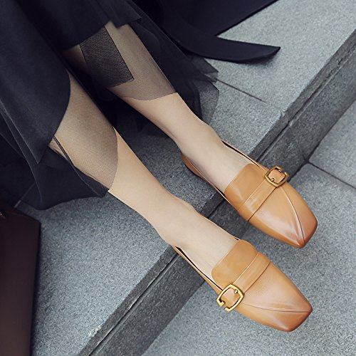F Women's Low-Heel Shoes, Cowhide Leather Shoes, Professional Women's Shoes Yellow