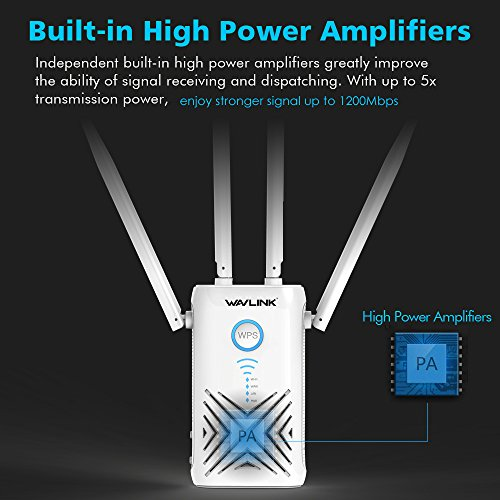 AC1200 High Power Dual Band WiFi Range Extender, WAVLINK Wireless Signal Booster/Repeater/Access Point/Router w/Gigabit Ethernet - White by WAVLINK (Image #4)