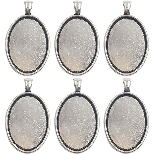 Dcatcher 24 PCS Bezel Pendant Trays Oval Cabochon Settings Trays Pendant Blanks, Antique Silver (Earring Cabochon Oval Setting)