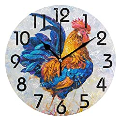 Dozili Chic Colorful Rooster Painting Print Round Wall Clock Arabic Numerals Design Non Ticking Wall Clock Large for Bedrooms,Living Room,Bathroom