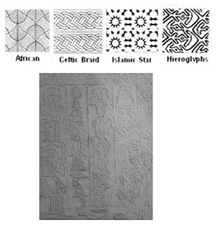 Cultural B Set - Polymer Clay Texture plates 4 Qtr page Patterns & Egyptian Sheet