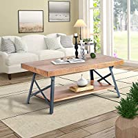 Harper&Bright Designs Solid Wood Coffee Table with Metal Legs
