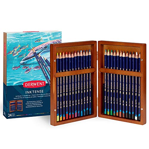 Inktense Pencils Set - Derwent Colored Pencils, Inktense Ink Pencils, Drawing, Art, Gift Set Wooden Box, 24 Count (2302586)