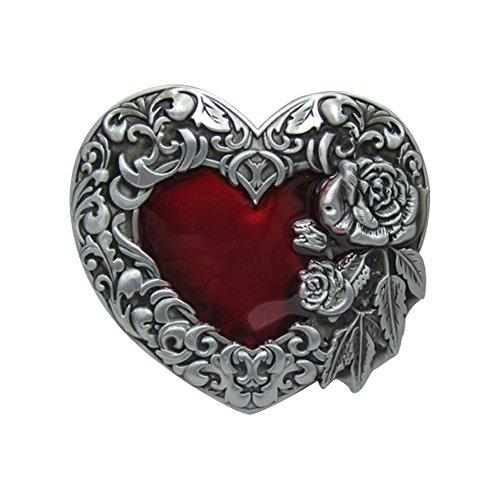 Heart Floral Buckle - E-Clover Vingate Floral Engraved Buckle Heart Pattern Western Belt Buckle (Style1)
