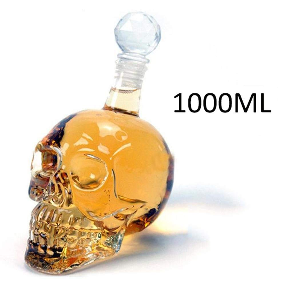 YYYHAN Skull Glass Wine Decanter Whiskey Decanters Creative Vodka Bottle Skull Aerator Carafe with Stopper Used for Champagne//Whisky//Cocktails
