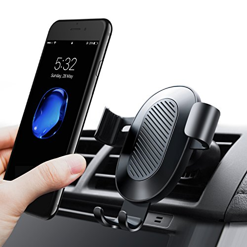 TORRAS Cell Phone Holder for Car, Gravity Auto-clamping Air Vent Car Phone Mount Holder Cradle for iPhone X / 8 / 8 Plus / 7 / 7 Plus, Samsung Galaxy S9 / S9 Plus / S8 / S8 Plus and more – Black