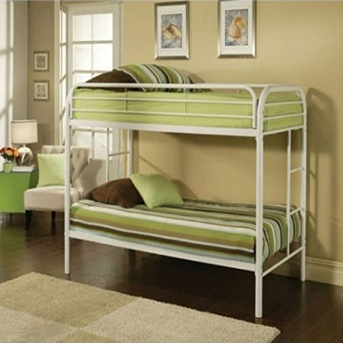 Durable White Metal Tube Twin Bunk Bed (Allentown Comforter)