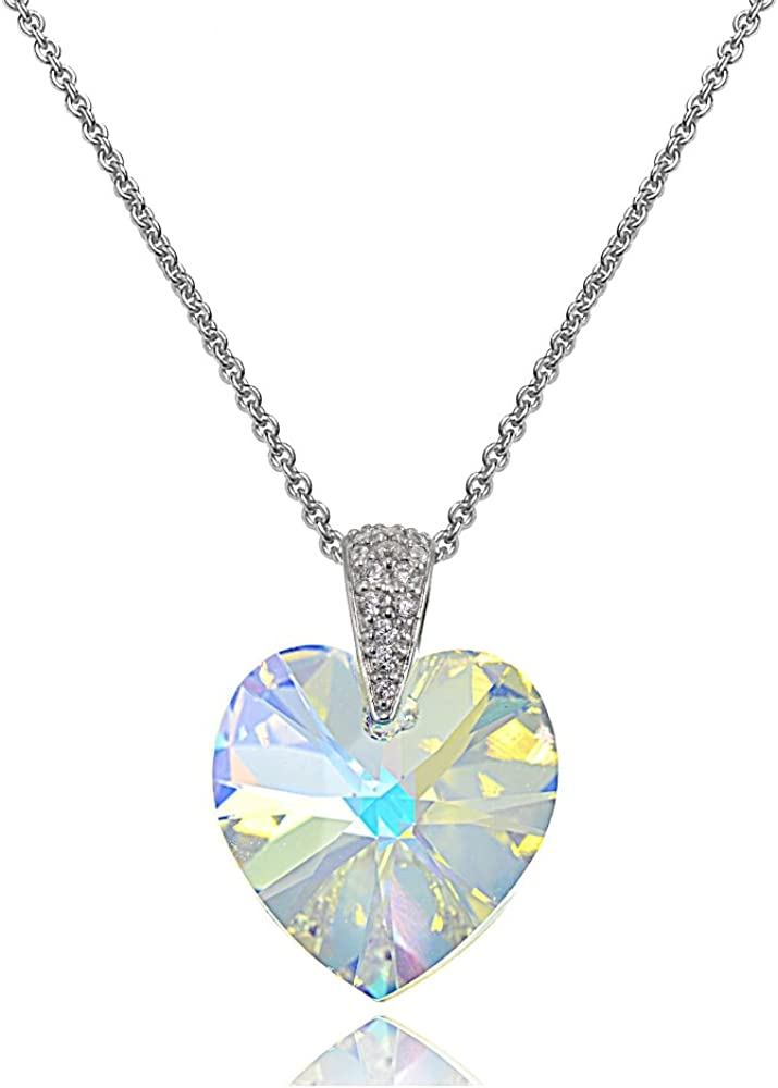 Sterling Silver Heart Necklace Created with Swarovski Crystals