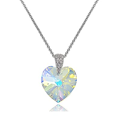 bcb0363f1 Sterling Silver Aurora Borealis Heart Necklace Created with Swarovski  Crystals