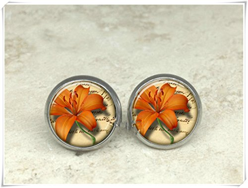 Elf House Orange tiger lily earrings, tiger lily stud earrings, Dome glass products, hand - -