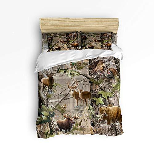 Full Duvet Cover Sets 4 Piece Bedding Set Bedspread with 2 Decorative Pillow Shams, Flat Sheet for Adult/Kids/Teens/Children, Luxury Ultra Soft Microfiber Collection - Forest Animal Deer Bear ()