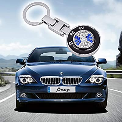 JYMAOYI for BWM Keychain 3D Mercedes Benz Logo Crystal Key Ring Double Side Gift for 3-Series 5-Series etc: Automotive