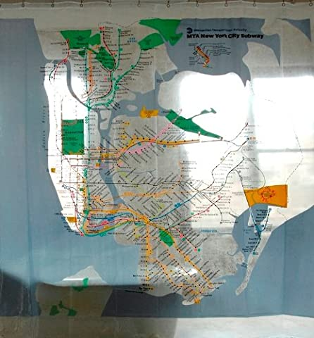 Izola PEVA Water and Mold Resistant Shower Curtain - MTA NYC Subway Map