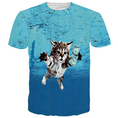 RAISEVERN Unisex 3d Cat Like Money Hip Hop Style T-Shirts
