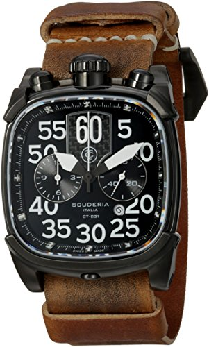 CT-Scuderia-Mens-Scrambler-Swiss-Quartz-Stainless-Steel-and-Leather-Casual-Watch-ColorBrown-Model-CS70105N