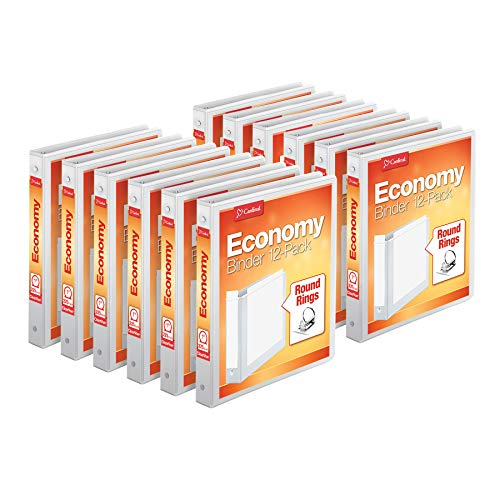 "Cardinal Economy 3-Ring Binders, 1"", Round Rings, Holds 225 Sheets, ClearVue Presentation View, Non-Stick, White, Carton of 12 (90621)"