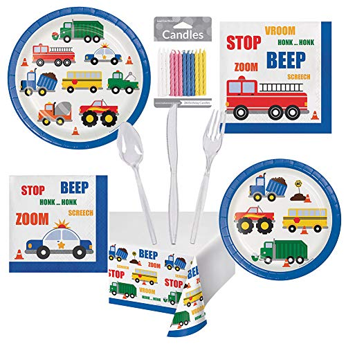 Traffic Jam Cars Trucks Birthday Party Pack for Boys Set Serves 16 – Luncheon & Dessert Paper Plates, Napkins, Table Cover, Cutlery & 24 Birthday Candles – Disposable Party Supplies for Food and Cake