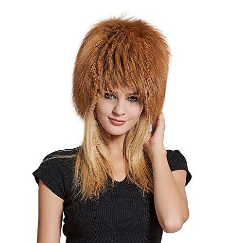 Women's Real Fox Fur Skullies Beanie Hat Elastic Warm Winter Hats - Fur Story by Furstory