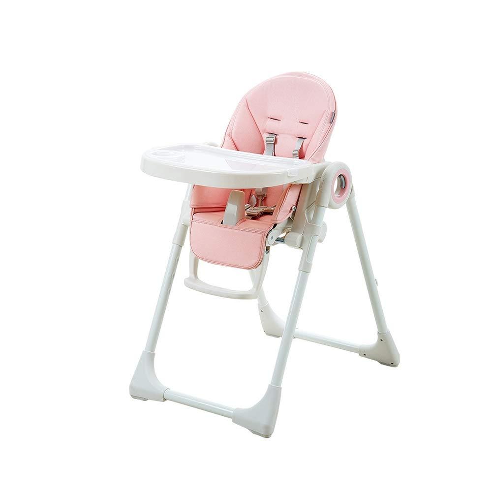 DUWX - 折り畳み式の高い椅子、二重皿および座席ベルトが付いている高さ調節可能な携帯用幼児の供給の椅子 ベビーハイチェア   B07V8C21N1