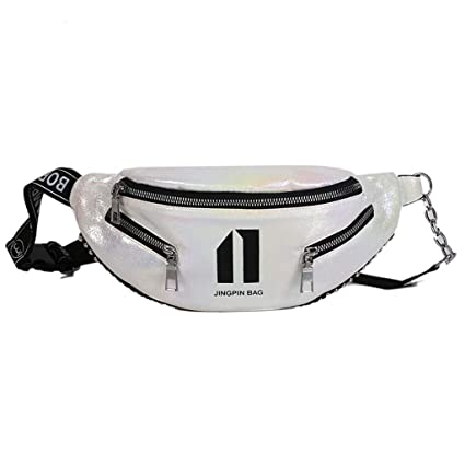 6acc5b9852f Amazon.com : EAPTS Women PU Leather Waist Bag Chain Fanny Pack ...