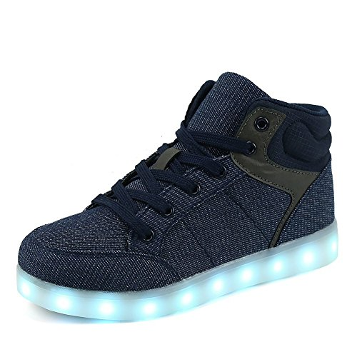 FLARUT Boys Girls Led Light Up Shoes Kids Running Sneakers High Top Dancing Boots USB Chargeable Lights(Blue,36) -