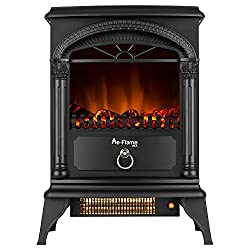 Hamilton Free Standing Electric Fireplace Stove - 22 Inch - Rustic Red - Portable Electric Fireplace with Realistic Fire and Vintage Logs. Adjustable 1500W 400 Square Feet Space Heater Fan by e-Flame USA
