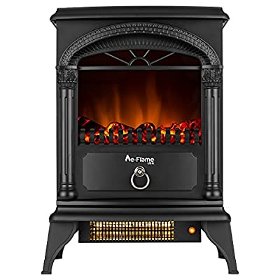 Hamilton Portable Electric Fireplace Stove by e-Flame USA (Matte Black) - This 22-inch Tall Freestanding Fireplace Features Heater and Fan Settings with Realistic and Brightly Burning Fire and Logs by e-Flame USA