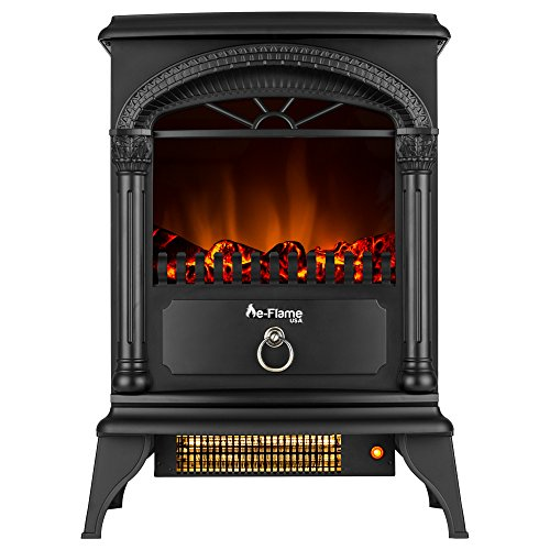Electric Fireplace Stove - Freestanding and Portable - Hamilton by e-Flame USA - 22-inches Tall - Matte Black - Features Heater and Fan Settings with Realistic and Brightly Burning Fire and Logs - Amish Round Table