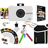"Polaroid Snap Instant Print Camera Gift Bundle + ZINK Paper (30 Sheets) + 8x8"" Cloth Scrapbook + Pouch + 6 Edged Scissors + 100 Sticker Border Frames + Color Gel Pens + Frames + Accessories"