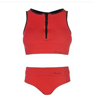 2253023cba Slazenger Womens Zip Bikini Swimsuit Black/Yellow 18: Amazon.co.uk ...
