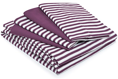 Cosy House Collection Striped Bed Sheets - Super Soft Luxury Hotel Deep Pocket Bedding Fits Pillowtop - Stain, Fade & Wrinkle Resistant - 6 Piece Set - Fitted, Flat, 4 Pillowcases (Queen, Plum) by Cosy House Collection