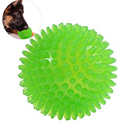 UEETEK Dog Toy Squeakers Ball Spikey Ball Squeaky Ball with High Bounce 10cm(Green)