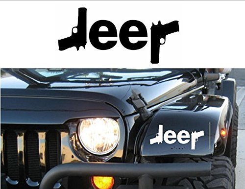 Jeep Logo w/ Guns { WHITE } PREMIUM Decal 5 inches | Sig | Glock | Wrangler | Rubicon | Cherokee | Sahara | 4x4 | Offroad | Girl Jeep -