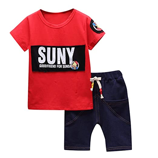 26ca13ed Amazon.com: 💝💝Kids Boy Summer Clothing Sets | Toddler Boys Cotton T Shirt  | Boy Short Jeans Outfits Sets(Red,80): Clothing